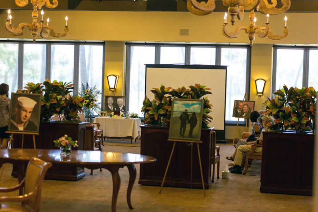 Classic Setup of a Celebration of Life with Photo Enlargements